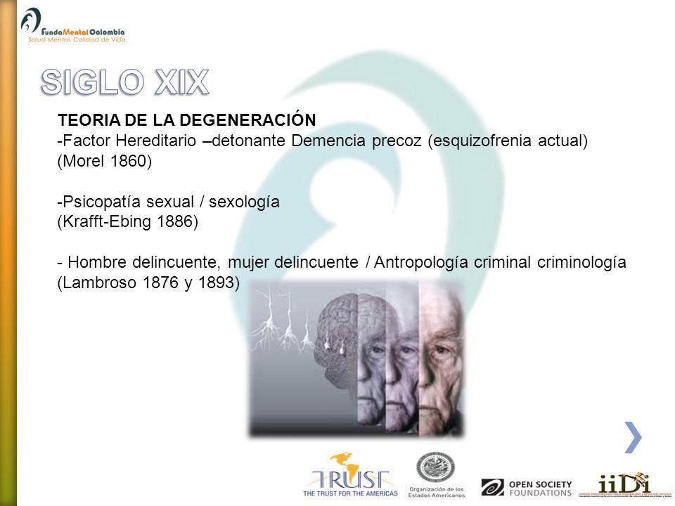 SIGLO XIX TEORIA DE LA DEGENERACIÓN