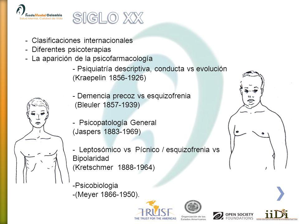 SIGLO XX - Clasificaciones internacionales Diferentes psicoterapias