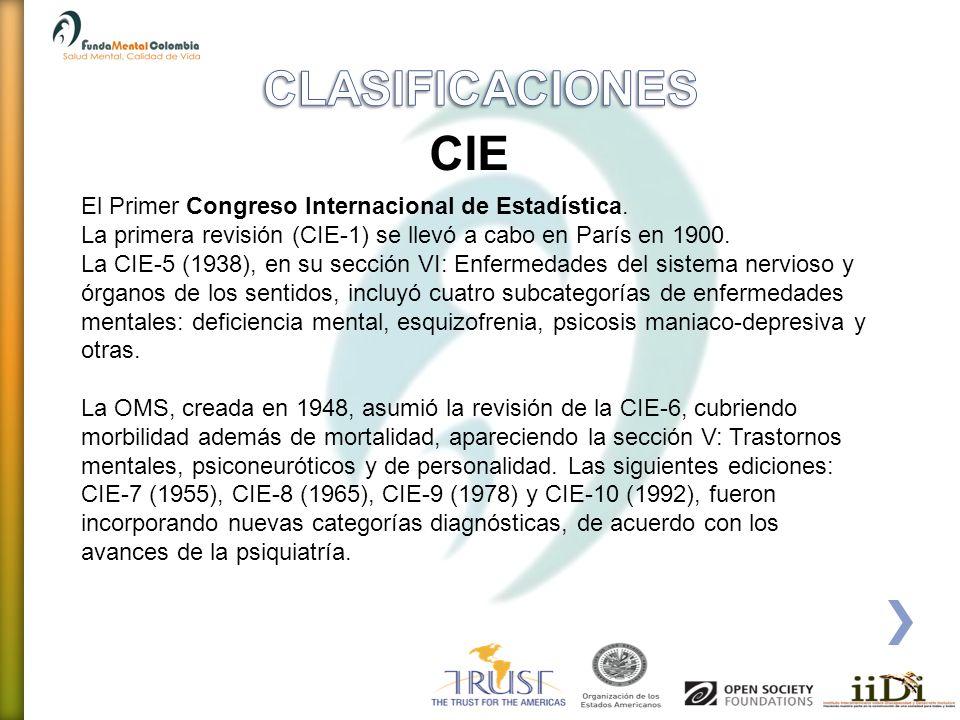 CLASIFICACIONES CIE El Primer Congreso Internacional de Estadística.