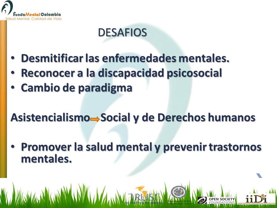 DESAFIOS Desmitificar las enfermedades mentales. Reconocer a la discapacidad psicosocial. Cambio de paradigma.