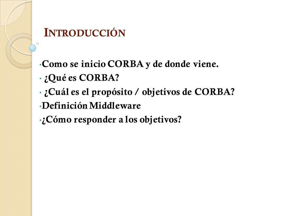 Introducción Como se inicio CORBA y de donde viene. ¿Qué es CORBA