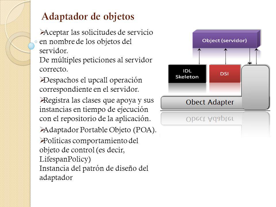 Adaptador de objetos Aceptar las solicitudes de servicio en nombre de los objetos del servidor. De múltiples peticiones al servidor correcto.