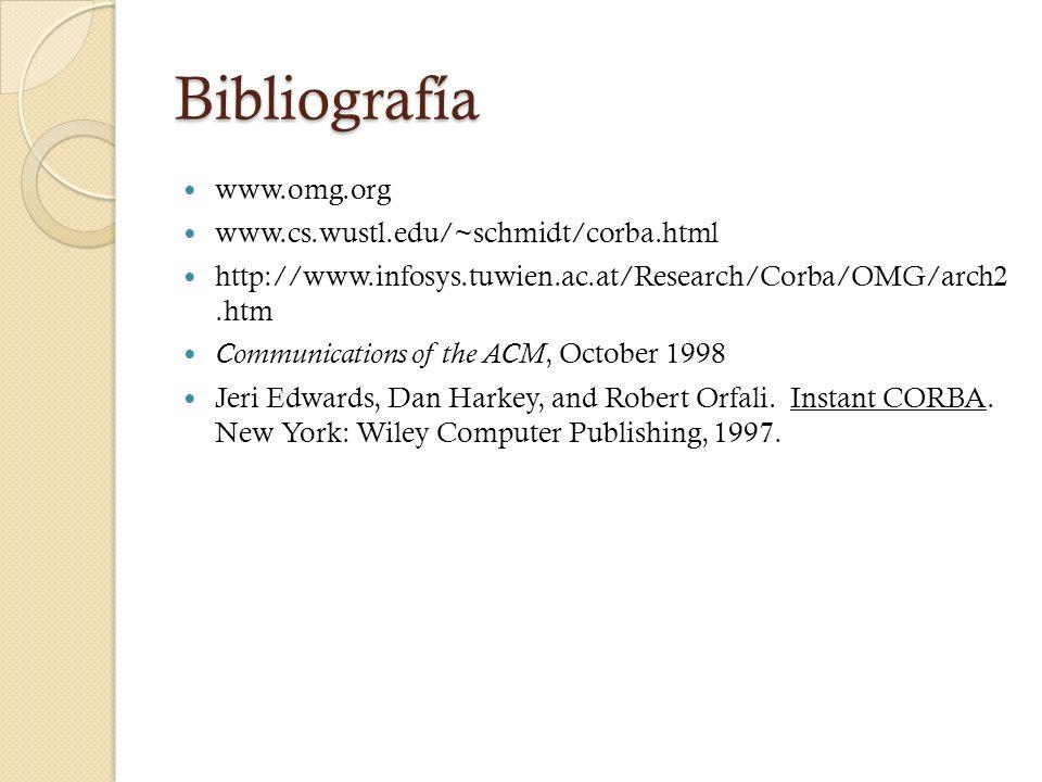 Bibliografía www.omg.org www.cs.wustl.edu/~schmidt/corba.html
