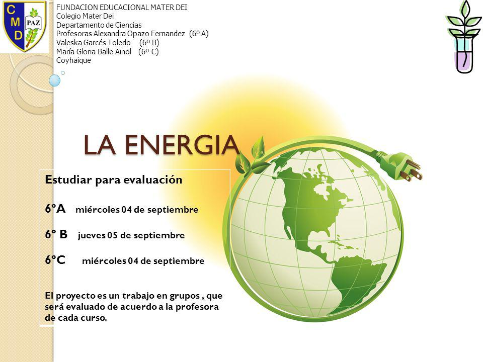 LA ENERGIA Estudiar para evaluación 6ºA miércoles 04 de septiembre