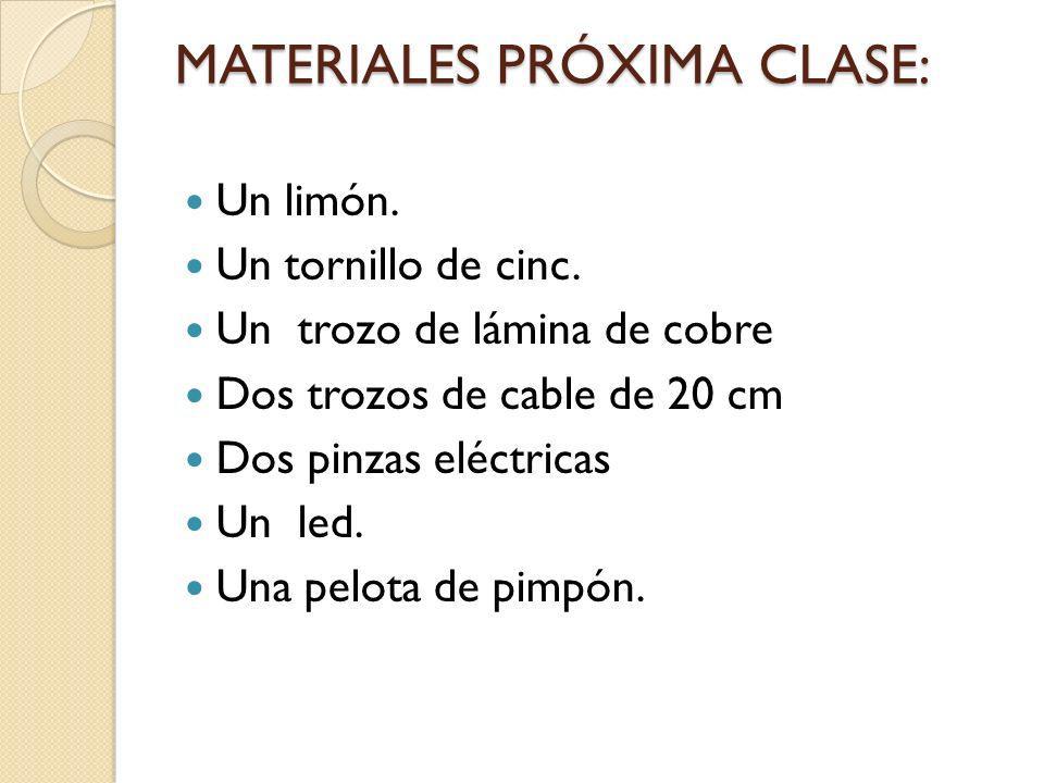 MATERIALES PRÓXIMA CLASE: