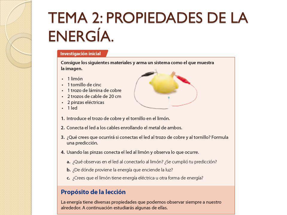 TEMA 2: PROPIEDADES DE LA ENERGÍA.
