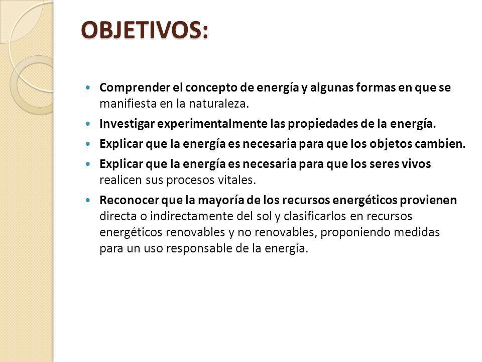 OBJETIVOS: Comprender el concepto de energía y algunas formas en que se manifiesta en la naturaleza.