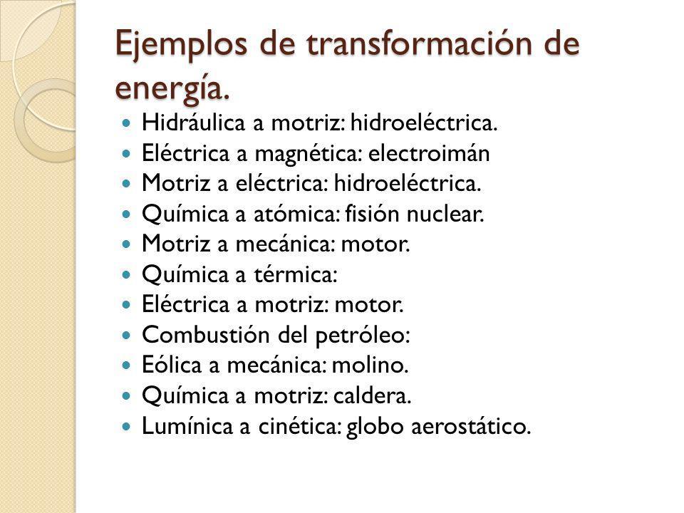 Ejemplos de transformación de energía.