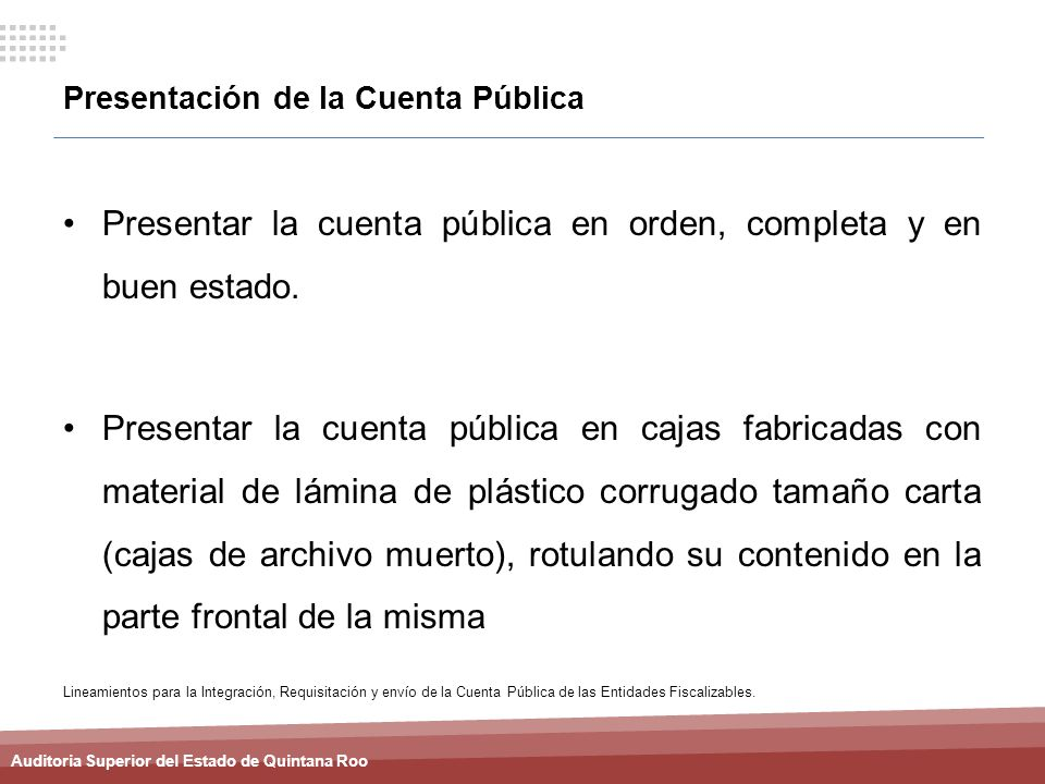 Presentación de la Cuenta Pública