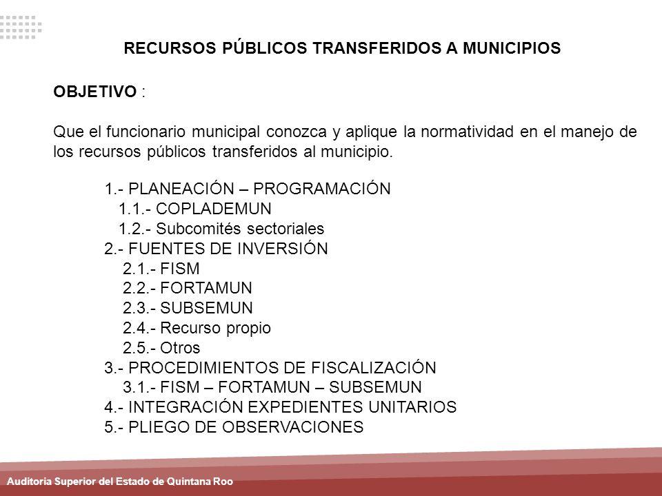 RECURSOS PÚBLICOS TRANSFERIDOS A MUNICIPIOS