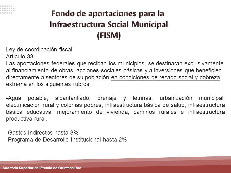 Fondo de aportaciones para la Infraestructura Social Municipal
