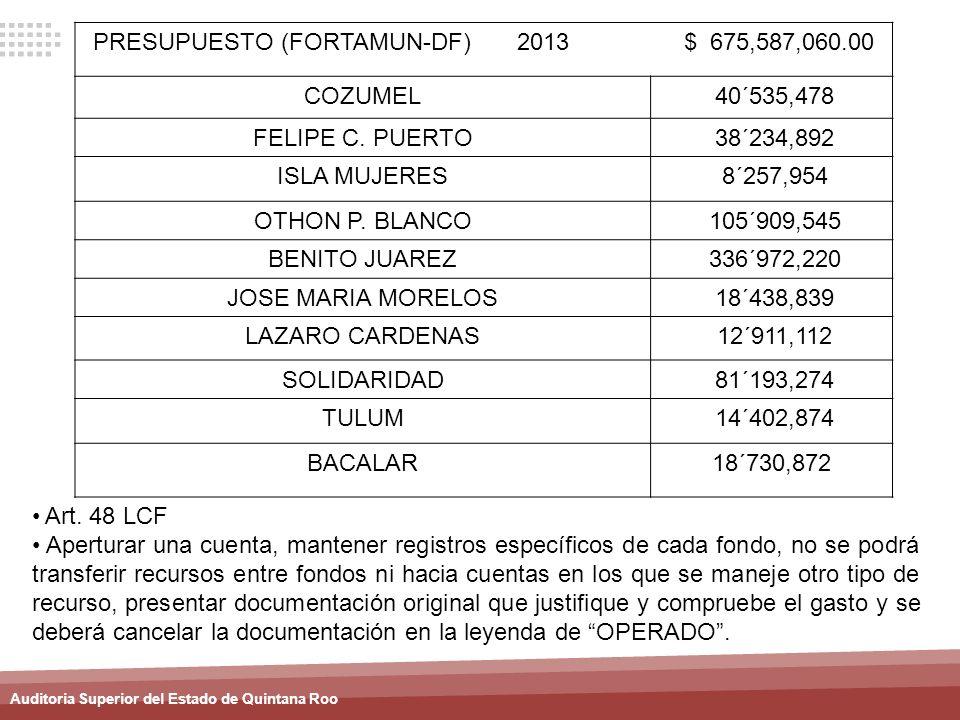 PRESUPUESTO (FORTAMUN-DF) 2013 $ 675,587,060.00