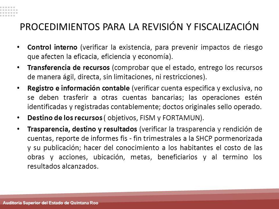 PROCEDIMIENTOS PARA LA REVISIÓN Y FISCALIZACIÓN