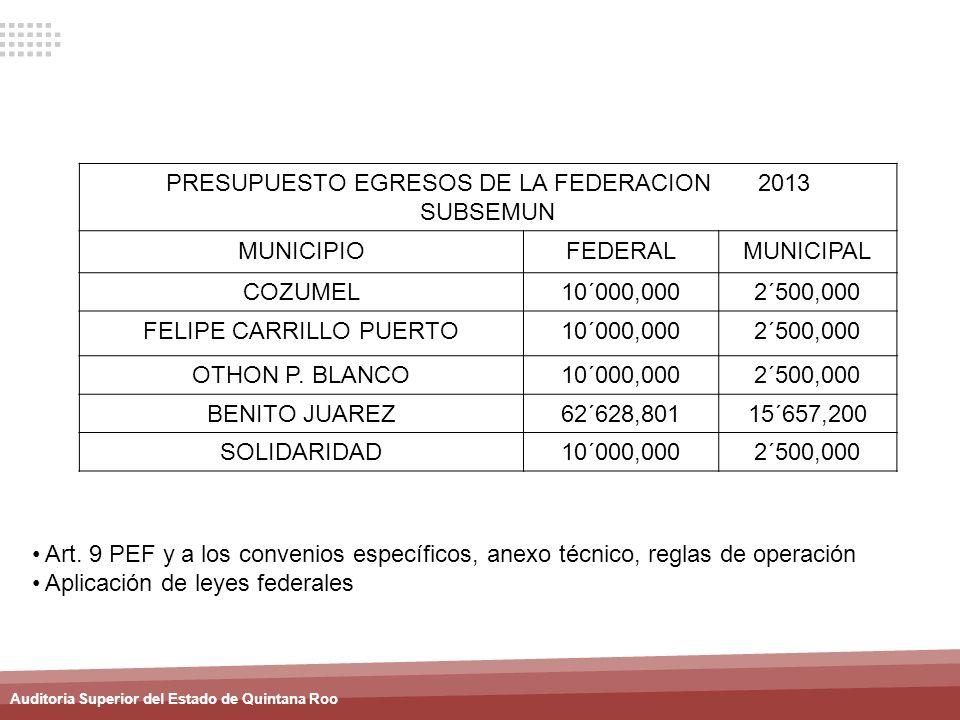 PRESUPUESTO EGRESOS DE LA FEDERACION 2013 SUBSEMUN MUNICIPIO FEDERAL