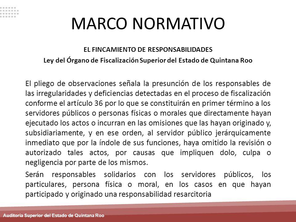 MARCO NORMATIVO EL FINCAMIENTO DE RESPONSABILIDADES. Ley del Órgano de Fiscalización Superior del Estado de Quintana Roo.
