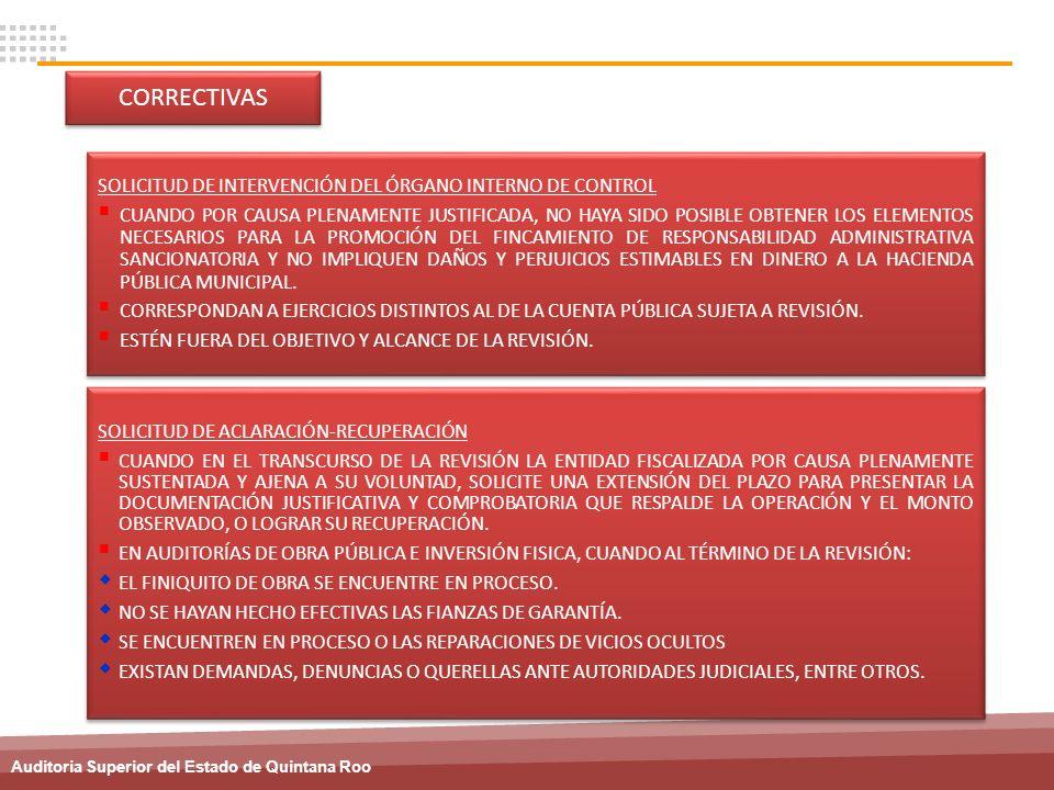 CORRECTIVAS SOLICITUD DE INTERVENCIÓN DEL ÓRGANO INTERNO DE CONTROL