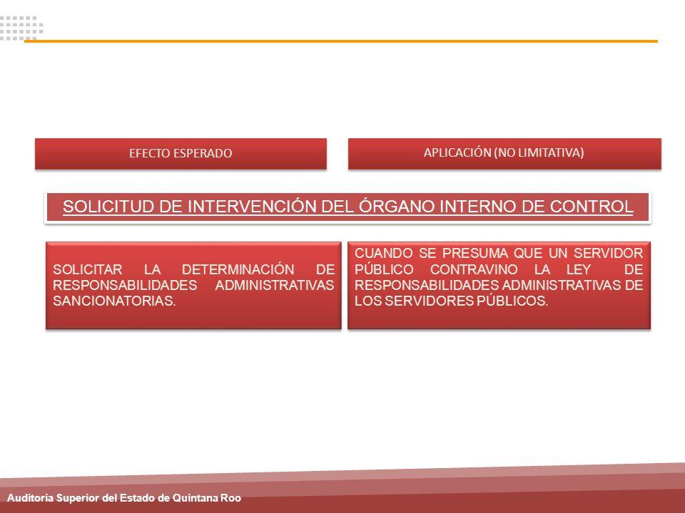 SOLICITUD DE INTERVENCIÓN DEL ÓRGANO INTERNO DE CONTROL