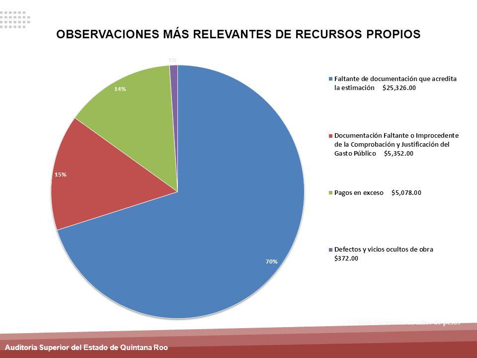 OBSERVACIONES MÁS RELEVANTES DE RECURSOS PROPIOS