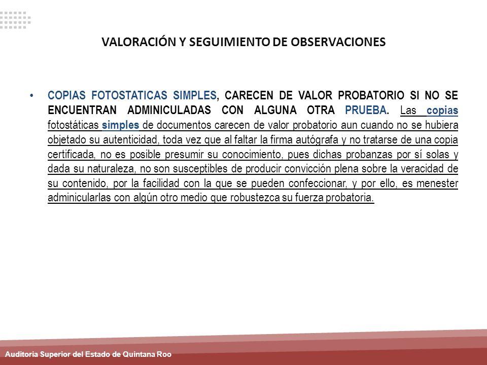 VALORACIÓN Y SEGUIMIENTO DE OBSERVACIONES