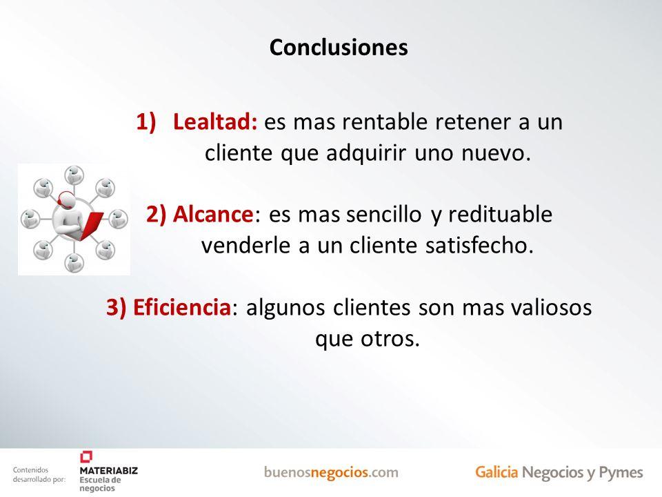 Lealtad: es mas rentable retener a un cliente que adquirir uno nuevo.