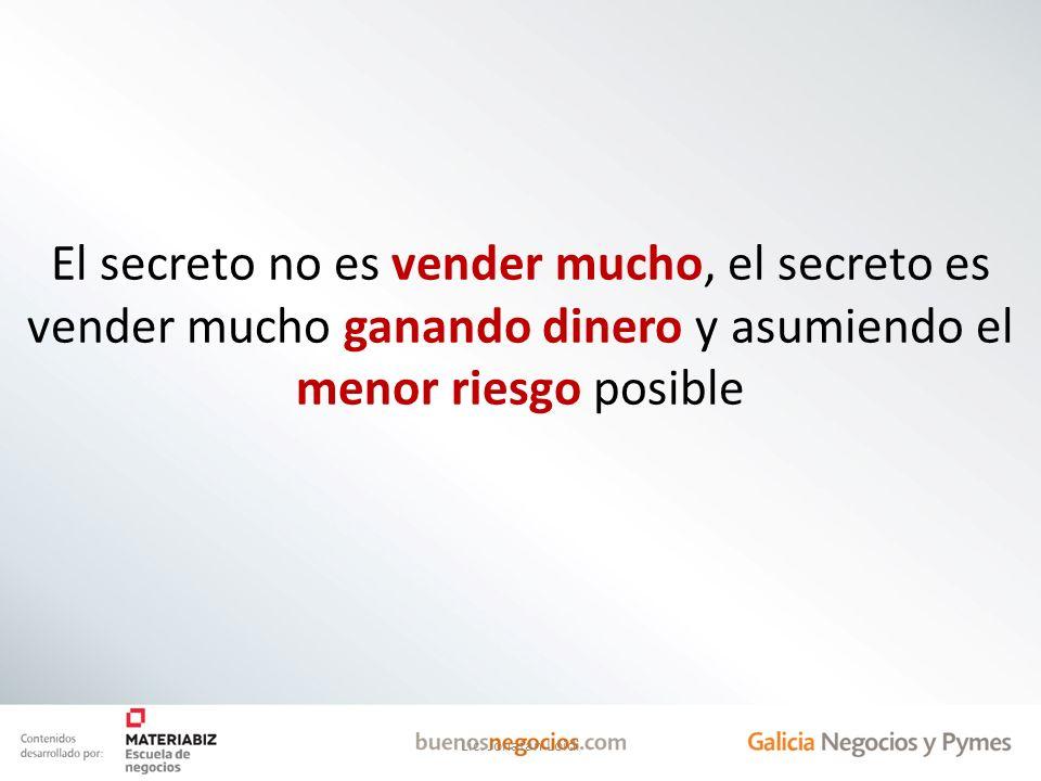 El secreto no es vender mucho, el secreto es vender mucho ganando dinero y asumiendo el menor riesgo posible