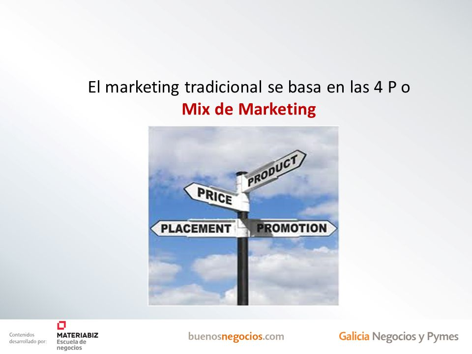 El marketing tradicional se basa en las 4 P o Mix de Marketing