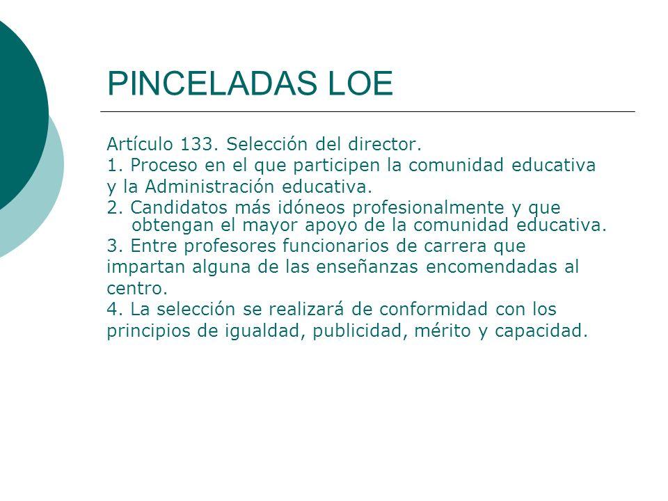 PINCELADAS LOE Artículo 133. Selección del director.