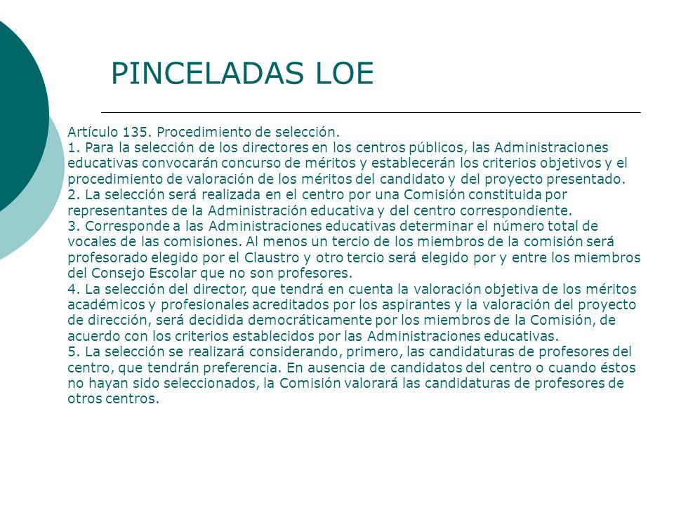 PINCELADAS LOE Artículo 135. Procedimiento de selección.