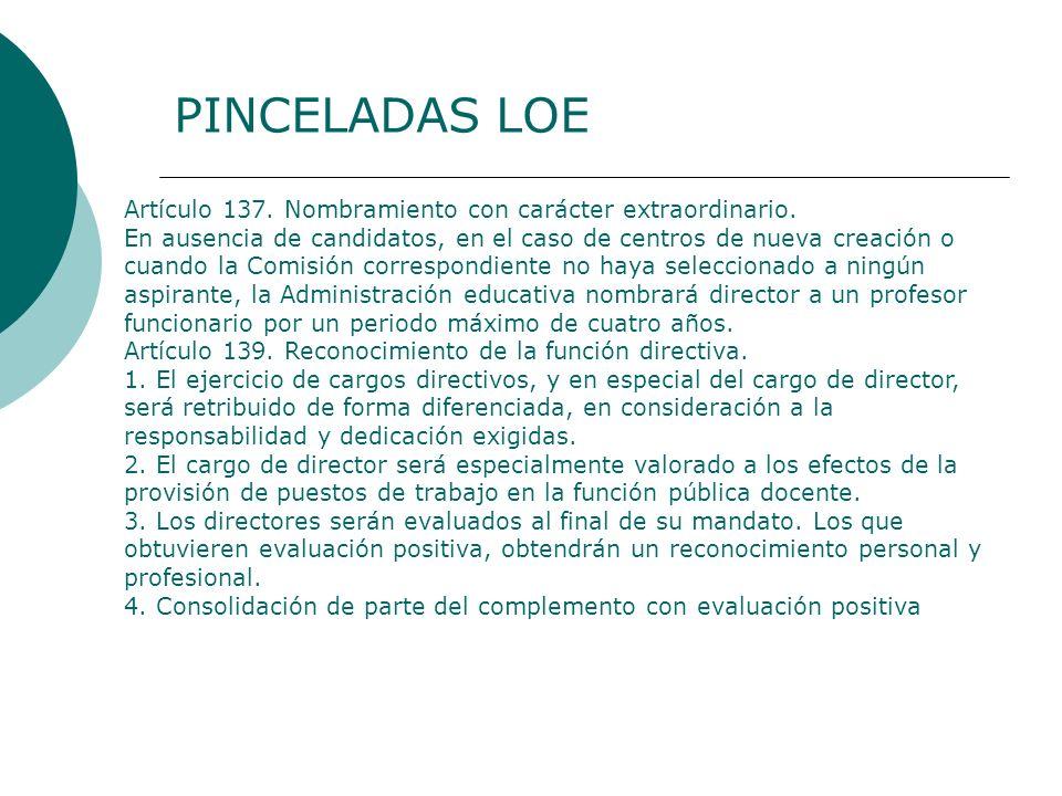 PINCELADAS LOE Artículo 137. Nombramiento con carácter extraordinario.
