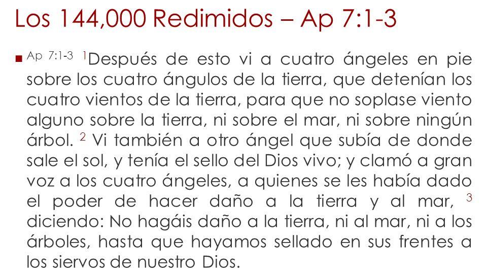 Los 144,000 Redimidos – Ap 7:1-3