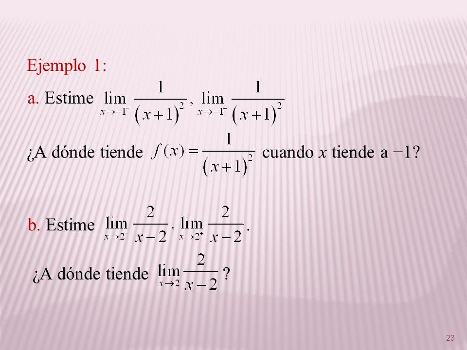 Ejemplo 1: a. Estime. ¿A dónde tiende cuando x tiende a −1 b. Estime .