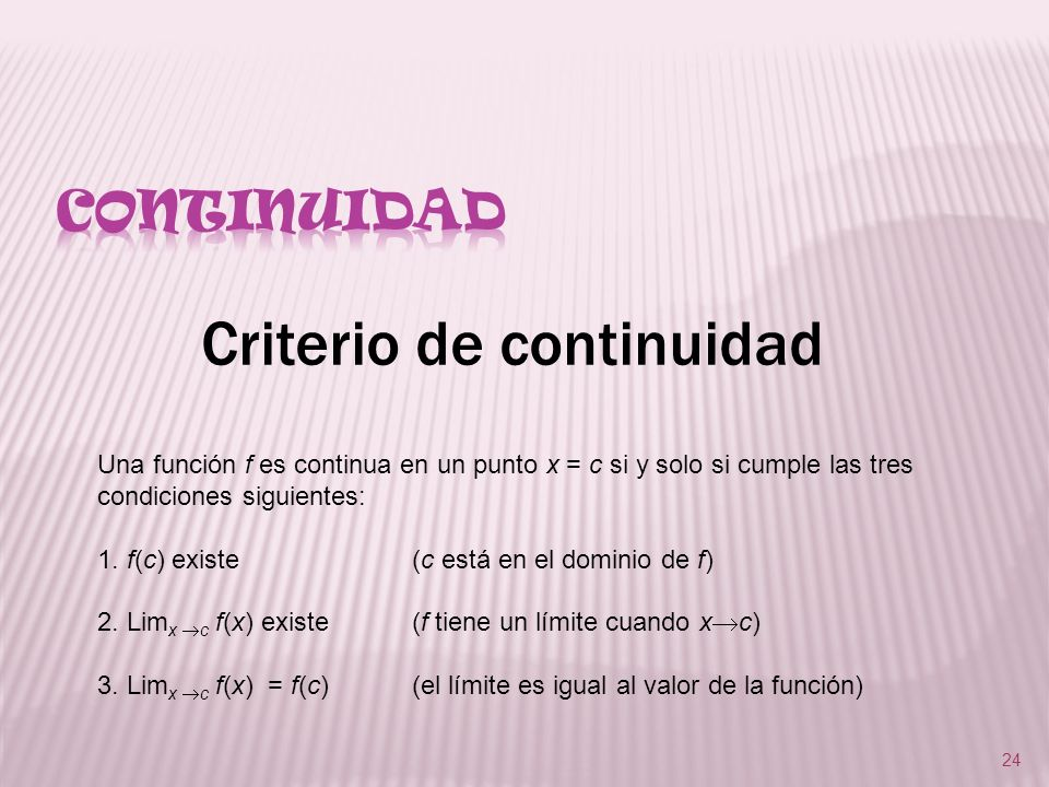 Criterio de continuidad