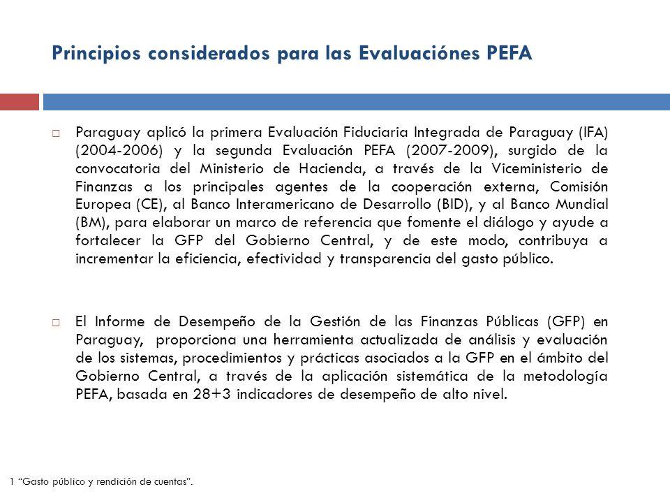 Principios considerados para las Evaluaciónes PEFA