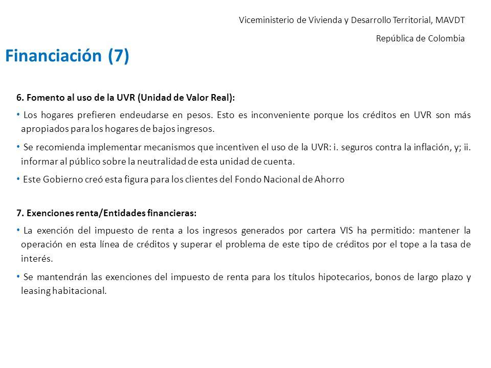 Financiación (7) 6. Fomento al uso de la UVR (Unidad de Valor Real):