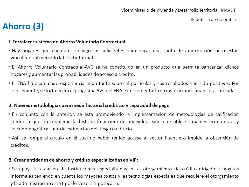 Ahorro (3) Fortalecer sistema de Ahorro Voluntario Contractual: