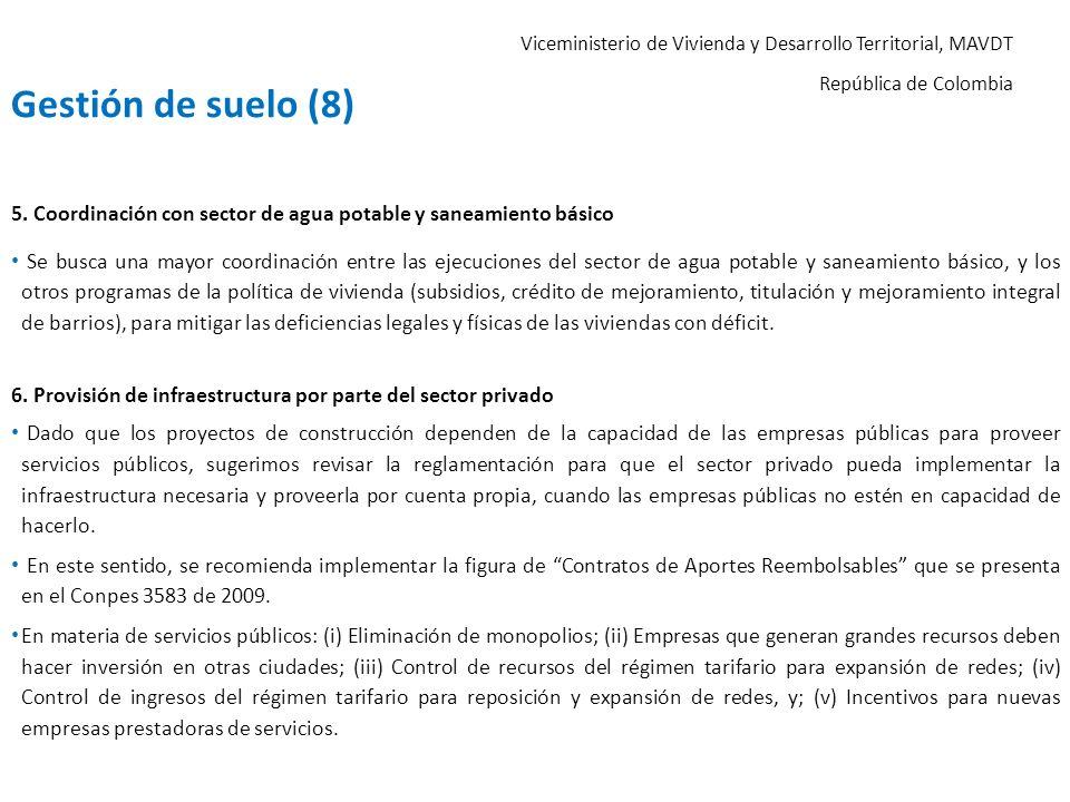 Gestión de suelo (8) 5. Coordinación con sector de agua potable y saneamiento básico.