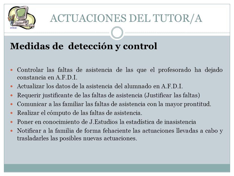ACTUACIONES DEL TUTOR/A
