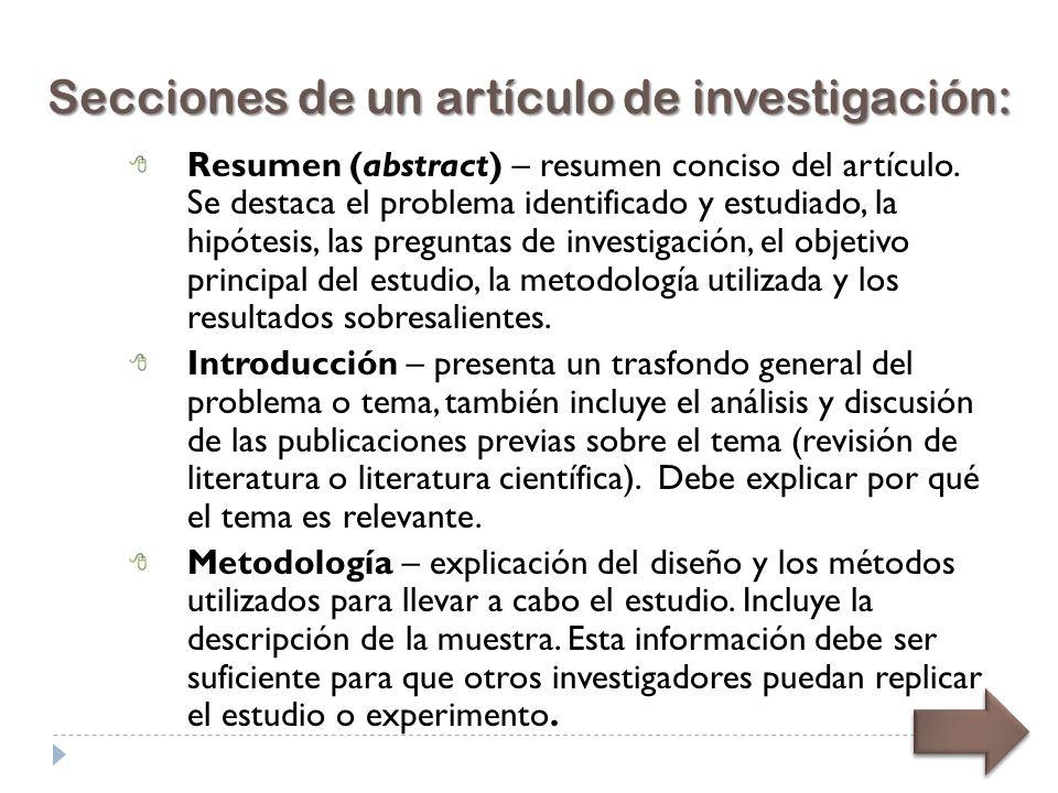 Secciones de un artículo de investigación: