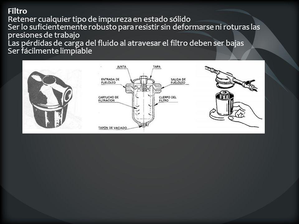Filtro Retener cualquier tipo de impureza en estado sólido Ser lo suficientemente robusto para resistir sin deformarse ni roturas las presiones de trabajo Las pérdidas de carga del fluido al atravesar el filtro deben ser bajas Ser fácilmente limpiable