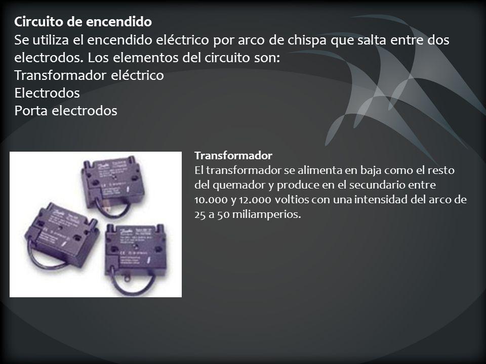 Circuito de encendido Se utiliza el encendido eléctrico por arco de chispa que salta entre dos electrodos. Los elementos del circuito son: Transformador eléctrico Electrodos Porta electrodos