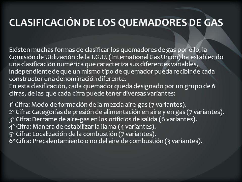 CLASIFICACIÓN DE LOS QUEMADORES DE GAS
