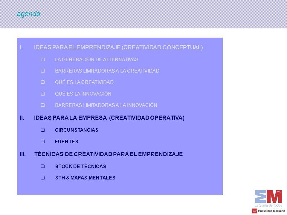 agenda IDEAS PARA EL EMPRENDIZAJE (CREATIVIDAD CONCEPTUAL)