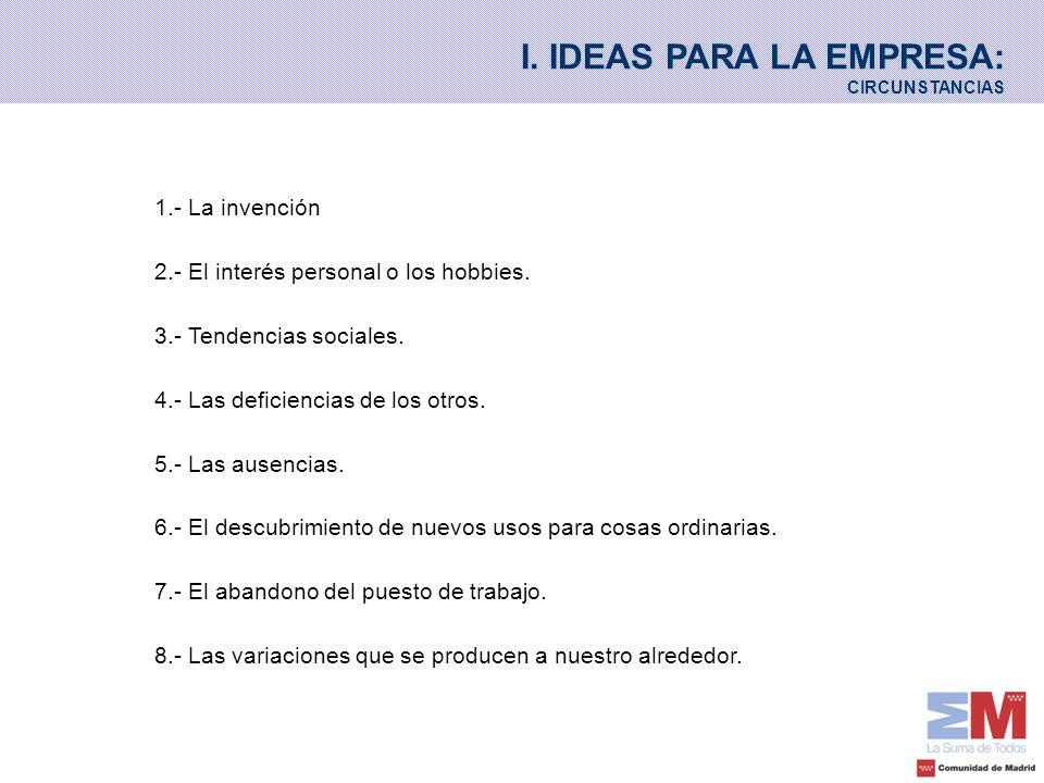 I. IDEAS PARA LA EMPRESA: CIRCUNSTANCIAS