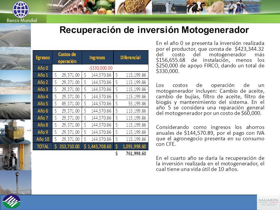 Recuperación de inversión Motogenerador
