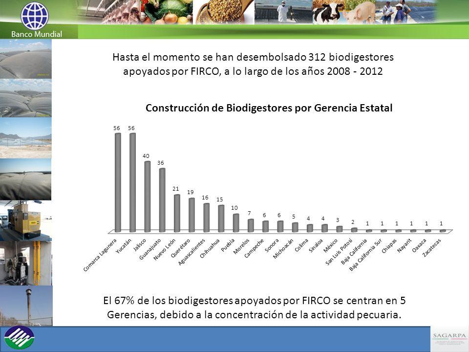 Hasta el momento se han desembolsado 312 biodigestores apoyados por FIRCO, a lo largo de los años 2008 - 2012