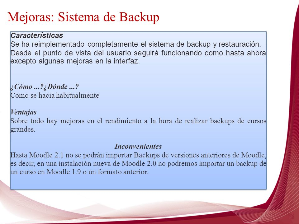 Mejoras: Sistema de Backup