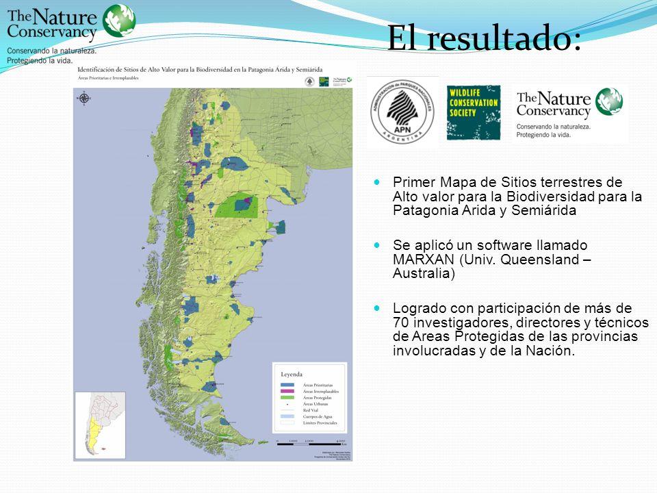 El resultado: Primer Mapa de Sitios terrestres de Alto valor para la Biodiversidad para la Patagonia Arida y Semiárida.