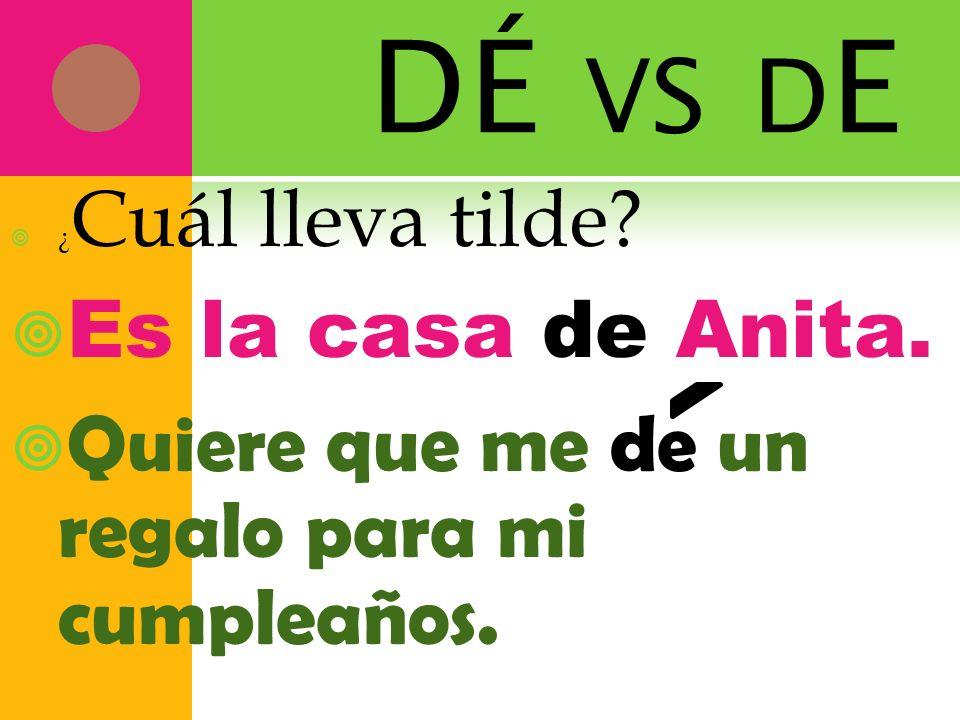 DÉ vs dE Es la casa de Anita.
