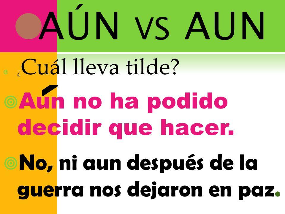 AÚN vs AUN Aun no ha podido decidir que hacer.