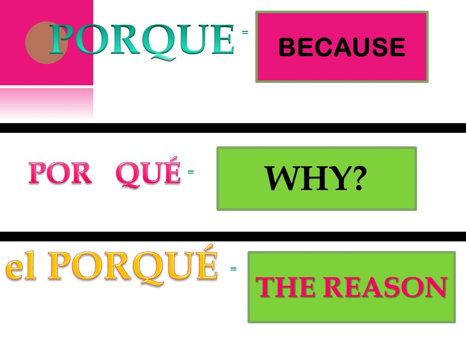 PORQUE BECAUSE = WHY POR QUÉ = el PORQUÉ THE REASON =